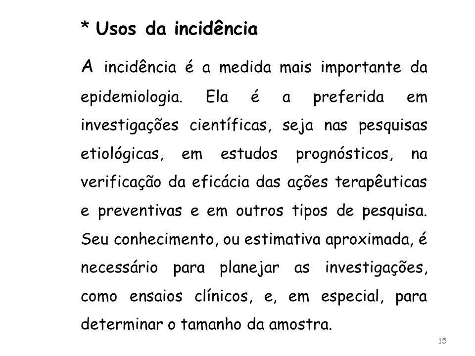 * Usos da incidência A incidência é a medida mais importante da epidemiologia. Ela é a preferida em investigações científicas, seja nas pesquisas etio