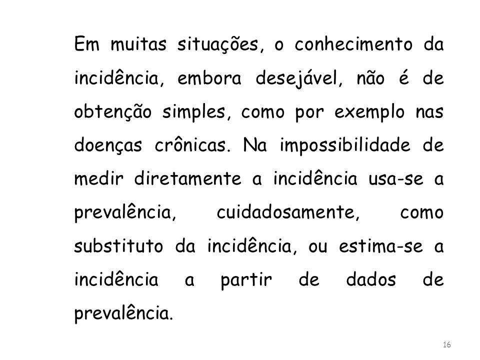 Em muitas situações, o conhecimento da incidência, embora desejável, não é de obtenção simples, como por exemplo nas doenças crônicas. Na impossibilid