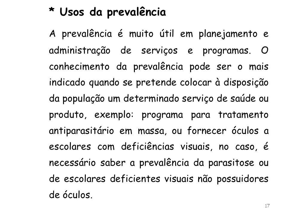 * Usos da prevalência A prevalência é muito útil em planejamento e administração de serviços e programas. O conhecimento da prevalência pode ser o mai