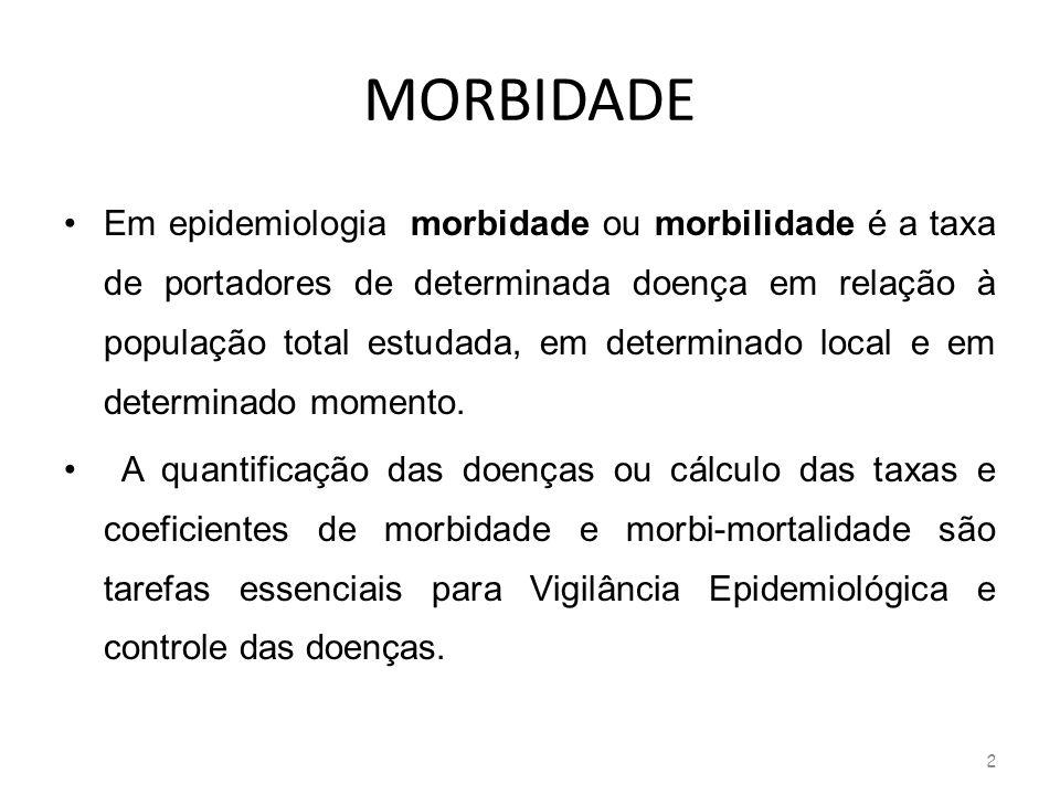MORBIDADE Em epidemiologia morbidade ou morbilidade é a taxa de portadores de determinada doença em relação à população total estudada, em determinado