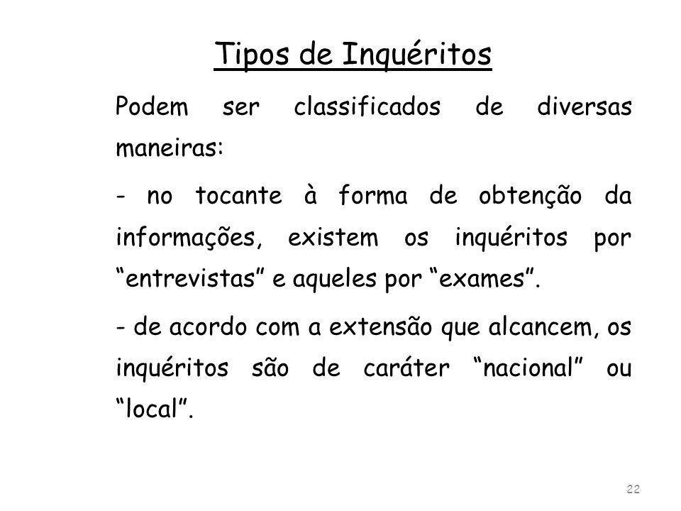 Tipos de Inquéritos Podem ser classificados de diversas maneiras: - no tocante à forma de obtenção da informações, existem os inquéritos por entrevist
