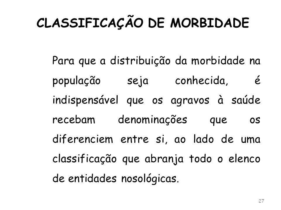 CLASSIFICAÇÃO DE MORBIDADE Para que a distribuição da morbidade na população seja conhecida, é indispensável que os agravos à saúde recebam denominaçõ