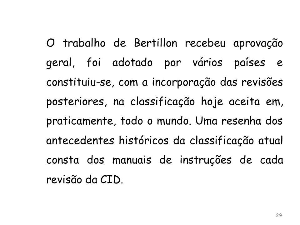 O trabalho de Bertillon recebeu aprovação geral, foi adotado por vários países e constituiu-se, com a incorporação das revisões posteriores, na classi