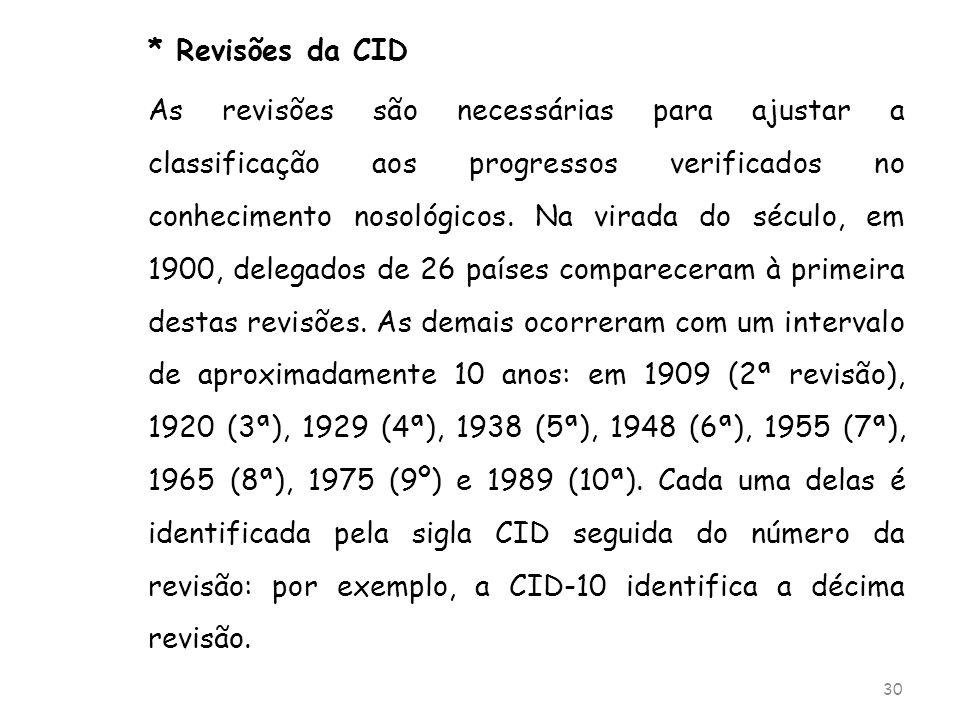 * Revisões da CID As revisões são necessárias para ajustar a classificação aos progressos verificados no conhecimento nosológicos. Na virada do século