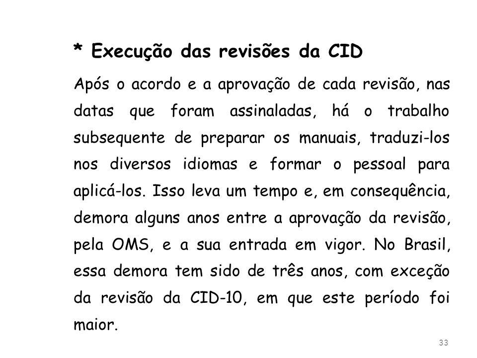 * Execução das revisões da CID Após o acordo e a aprovação de cada revisão, nas datas que foram assinaladas, há o trabalho subsequente de preparar os