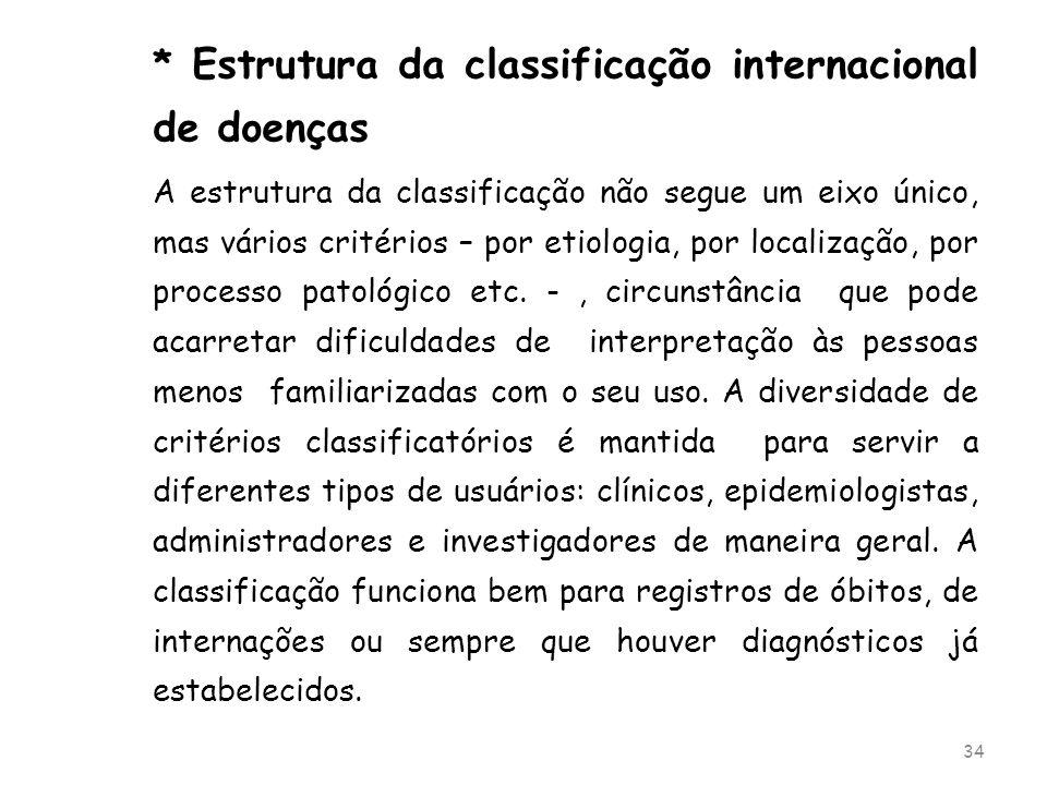 * Estrutura da classificação internacional de doenças A estrutura da classificação não segue um eixo único, mas vários critérios – por etiologia, por
