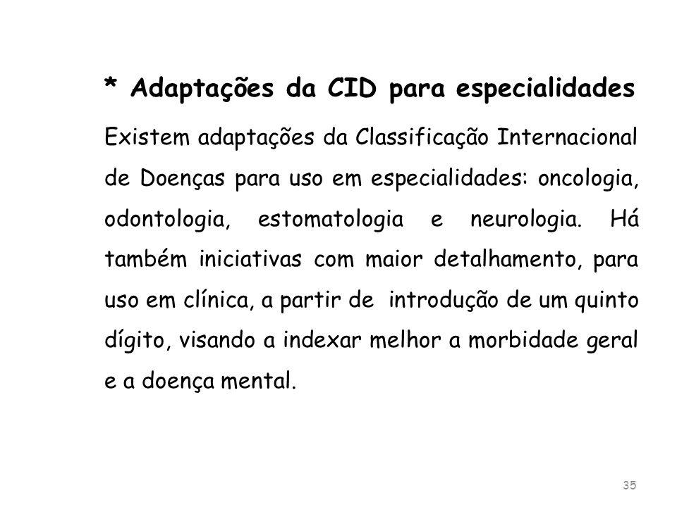 * Adaptações da CID para especialidades Existem adaptações da Classificação Internacional de Doenças para uso em especialidades: oncologia, odontologi