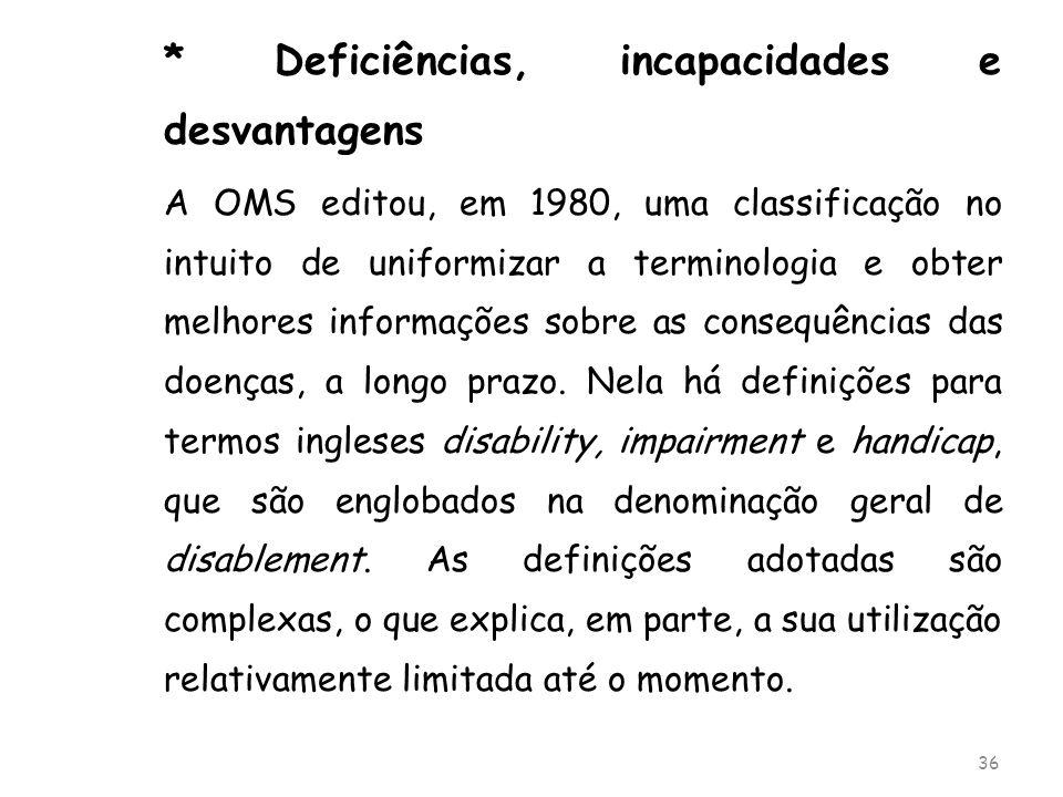 * Deficiências, incapacidades e desvantagens A OMS editou, em 1980, uma classificação no intuito de uniformizar a terminologia e obter melhores inform