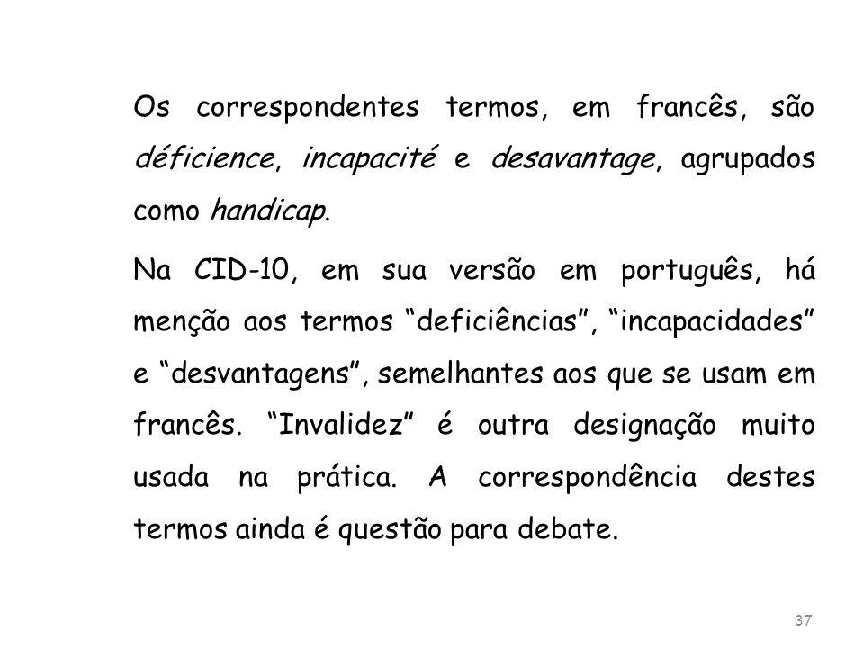 Os correspondentes termos, em francês, são déficience, incapacité e desavantage, agrupados como handicap. Na CID-10, em sua versão em português, há me