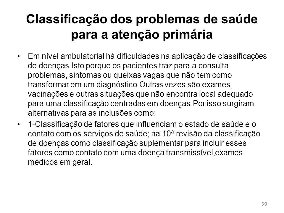Classificação dos problemas de saúde para a atenção primária Em nível ambulatorial há dificuldades na aplicação de classificações de doenças.Isto porq