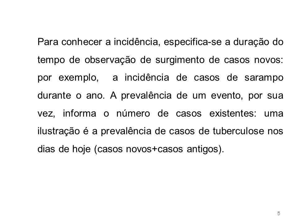 Para conhecer a incidência, especifica-se a duração do tempo de observação de surgimento de casos novos: por exemplo, a incidência de casos de sarampo