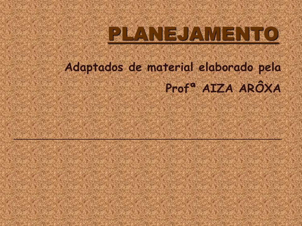 PLANEJAMENTO PLANEJAMENTO Adaptados de material elaborado pela Profª AIZA ARÔXA ___________________________________________________