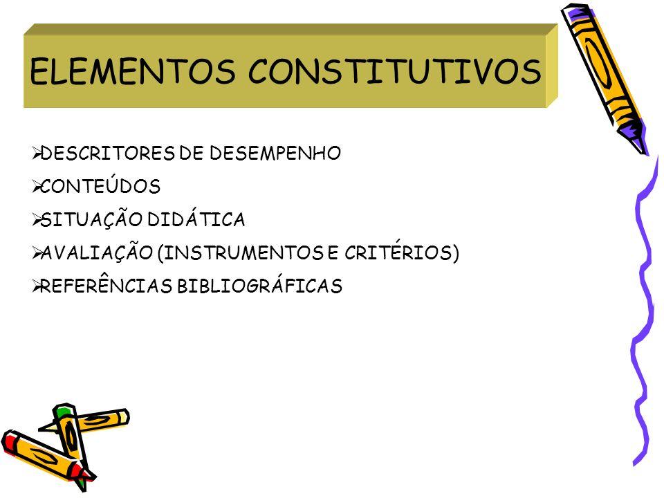 ELEMENTOS CONSTITUTIVOS DESCRITORES DE DESEMPENHO CONTEÚDOS SITUAÇÃO DIDÁTICA AVALIAÇÃO (INSTRUMENTOS E CRITÉRIOS) REFERÊNCIAS BIBLIOGRÁFICAS