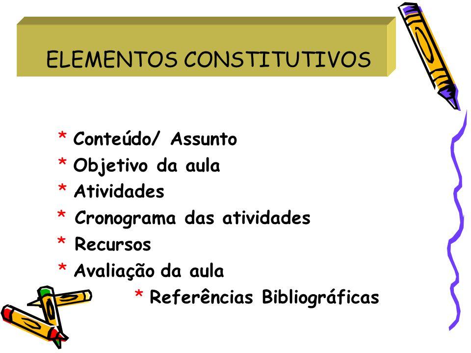 ELEMENTOS CONSTITUTIVOS * Conteúdo/ Assunto * Objetivo da aula * Atividades * Cronograma das atividades * Recursos * Avaliação da aula * Referências B