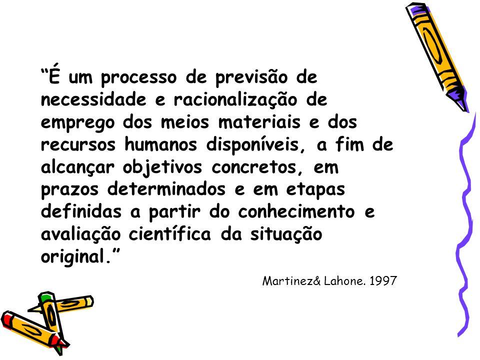 É um processo de previsão de necessidade e racionalização de emprego dos meios materiais e dos recursos humanos disponíveis, a fim de alcançar objetiv