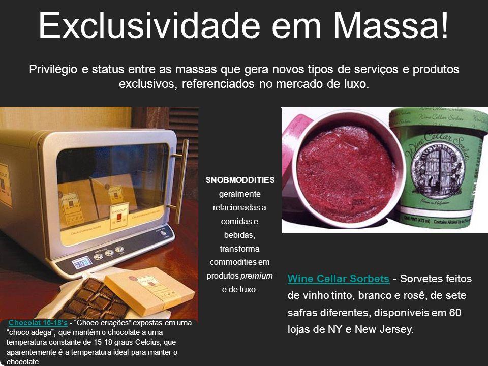 Exclusividade em Massa! Privilégio e status entre as massas que gera novos tipos de serviços e produtos exclusivos, referenciados no mercado de luxo.