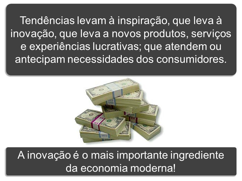 Tendências levam à inspiração, que leva à inovação, que leva a novos produtos, serviços e experiências lucrativas; que atendem ou antecipam necessidad