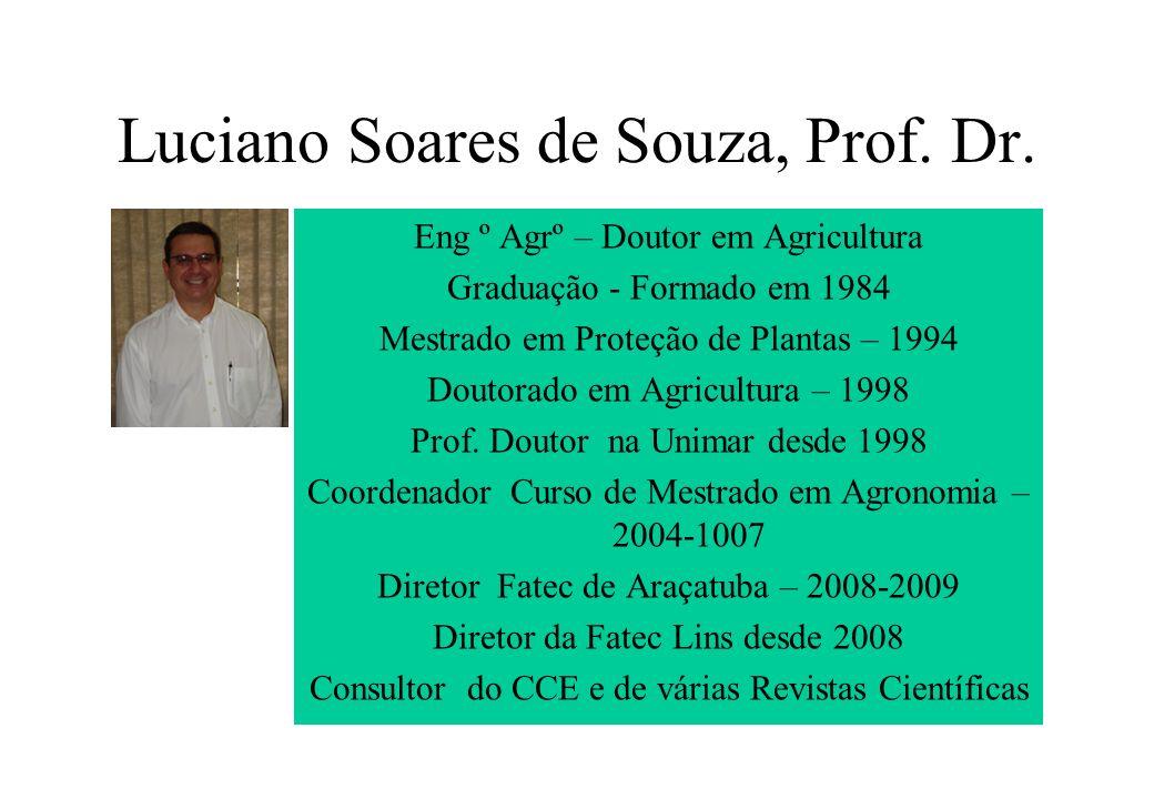 Luciano Soares de Souza, Prof. Dr. Eng º Agrº – Doutor em Agricultura Graduação - Formado em 1984 Mestrado em Proteção de Plantas – 1994 Doutorado em