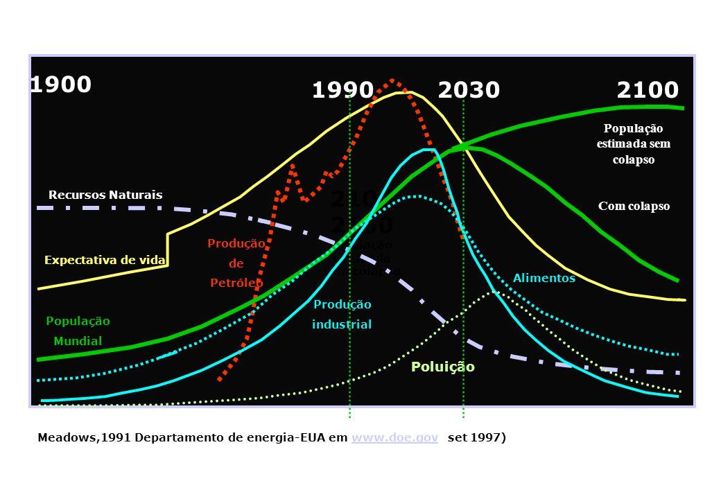 . 2100 População estimada sem colapso 1900 Recursos Naturais 1990 População Mundial Produção industrial Produção de Petróleo Expectativa de vida Polui