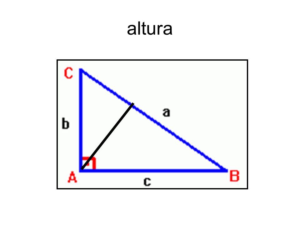 3-Altura: A altura de um triângulo é um segmento que tem uma extremidade num vértice e a outra extremidade no lado oposto ao vértice, sendo que este s