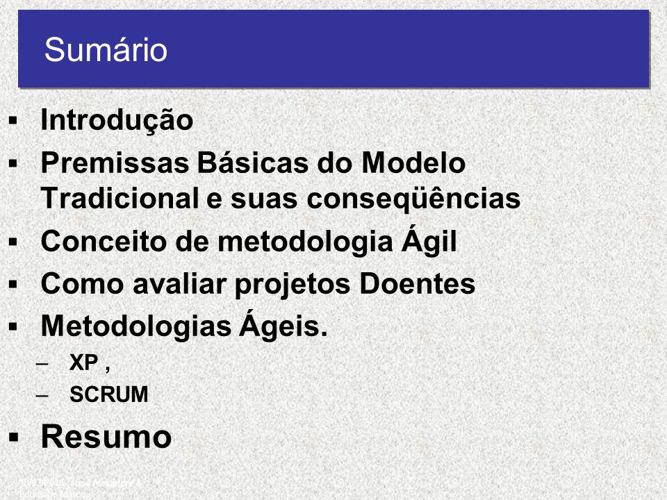 Sumário Introdução Premissas Básicas do Modelo Tradicional e suas conseqüências Conceito de metodologia Ágil Como avaliar projetos Doentes Metodologia