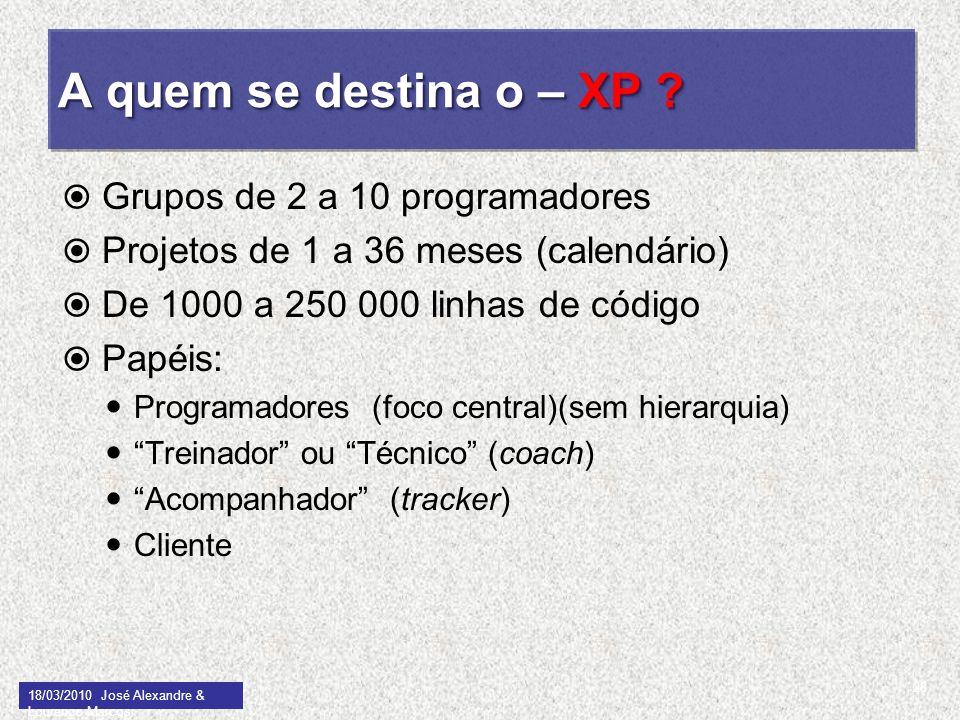 A quem se destina o – XP ? Grupos de 2 a 10 programadores Projetos de 1 a 36 meses (calendário) De 1000 a 250 000 linhas de código Papéis: Programador