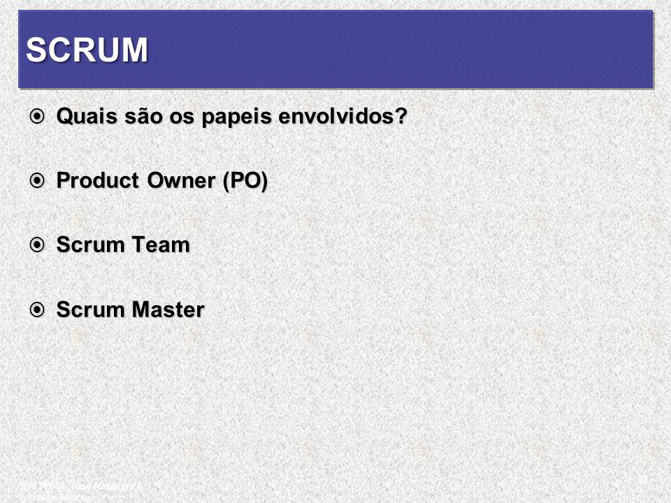 SCRUMSCRUM Quais são os papeis envolvidos? Quais são os papeis envolvidos? Product Owner (PO) Product Owner (PO) Scrum Team Scrum Team Scrum Master Sc