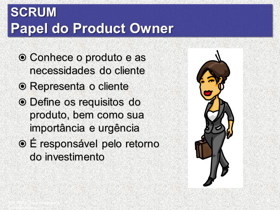 SCRUM Papel do Product Owner Conhece o produto e as necessidades do cliente Conhece o produto e as necessidades do cliente Representa o cliente Repres