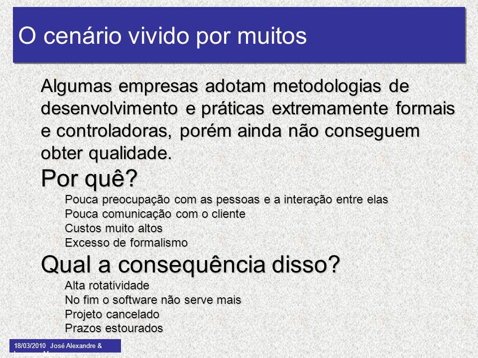 O cenário vivido por muitos 18/03/2010 José Alexandre & Lourenço Marcos 4 Algumas empresas adotam metodologias de desenvolvimento e práticas extremame