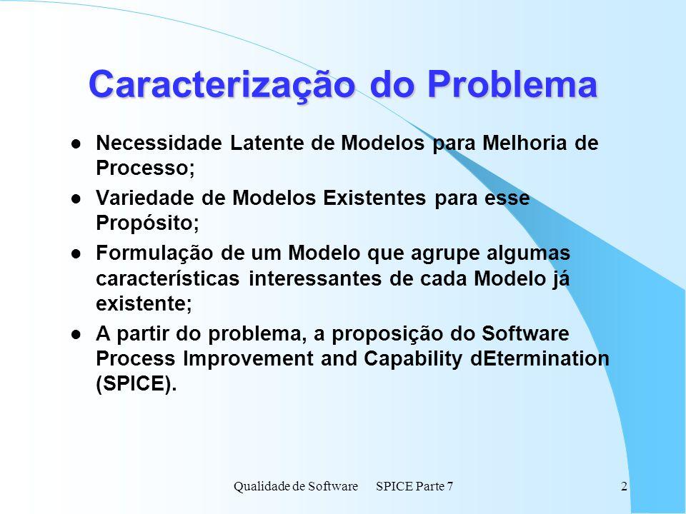 Qualidade de Software SPICE Parte 73 SPICE l Início em 1993; l Projeto de âmbito mundial; l Subsidiado por indústrias e órgãos governamentais; l Administração regionalizada : l Conselho de Administração: Órgão Máximo