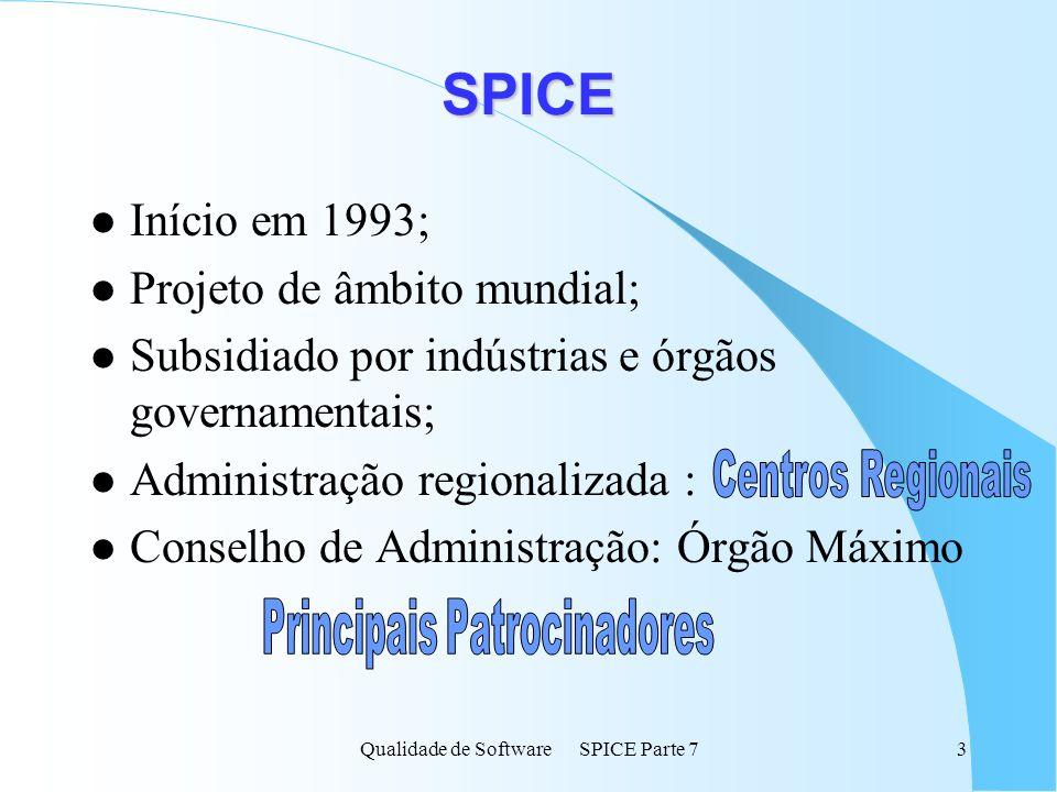 Qualidade de Software SPICE Parte 73 SPICE l Início em 1993; l Projeto de âmbito mundial; l Subsidiado por indústrias e órgãos governamentais; l Admin