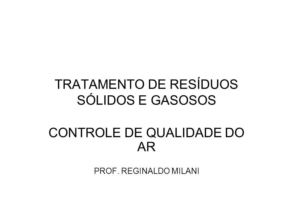 TRATAMENTO DE RESÍDUOS SÓLIDOS E GASOSOS CONTROLE DE QUALIDADE DO AR PROF. REGINALDO MILANI
