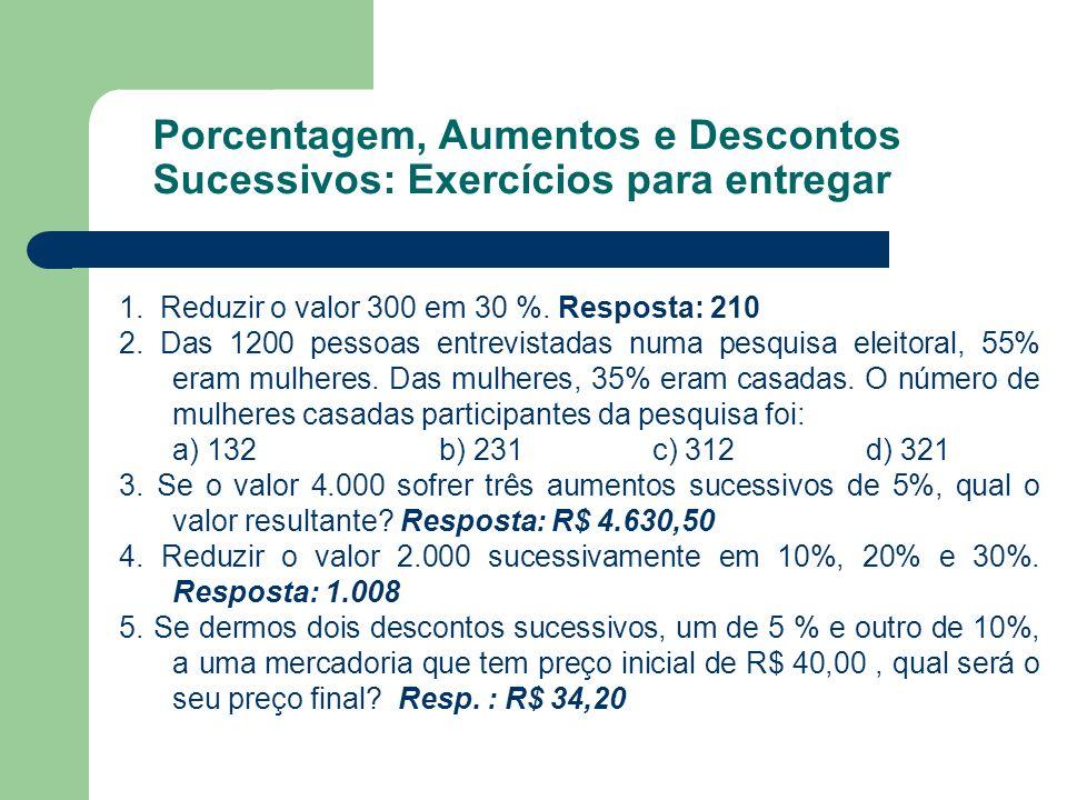 Porcentagem, Aumentos e Descontos Sucessivos: Exercícios para entregar 1. Reduzir o valor 300 em 30 %. Resposta: 210 2. Das 1200 pessoas entrevistadas