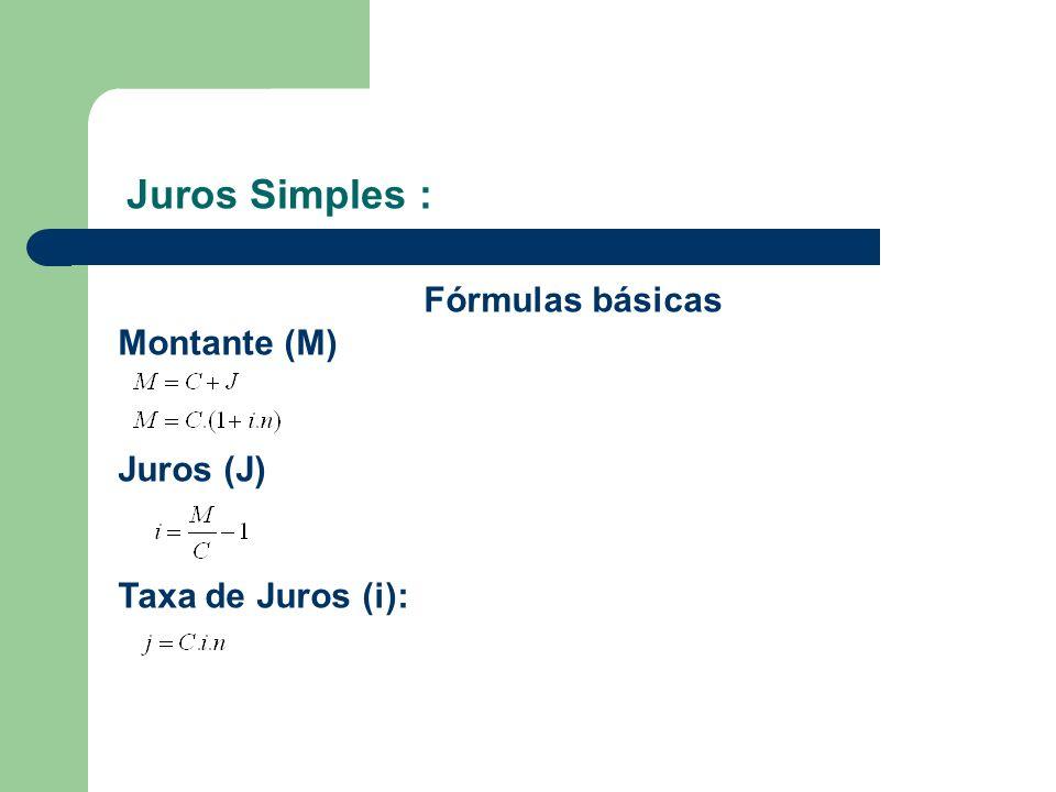 Juros Simples : Fórmulas básicas Montante (M) Juros (J) Taxa de Juros (i):