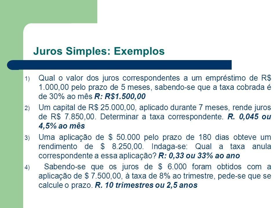 1) Qual o valor dos juros correspondentes a um empréstimo de R$ 1.000,00 pelo prazo de 5 meses, sabendo-se que a taxa cobrada é de 30% ao mês R: R$1.5