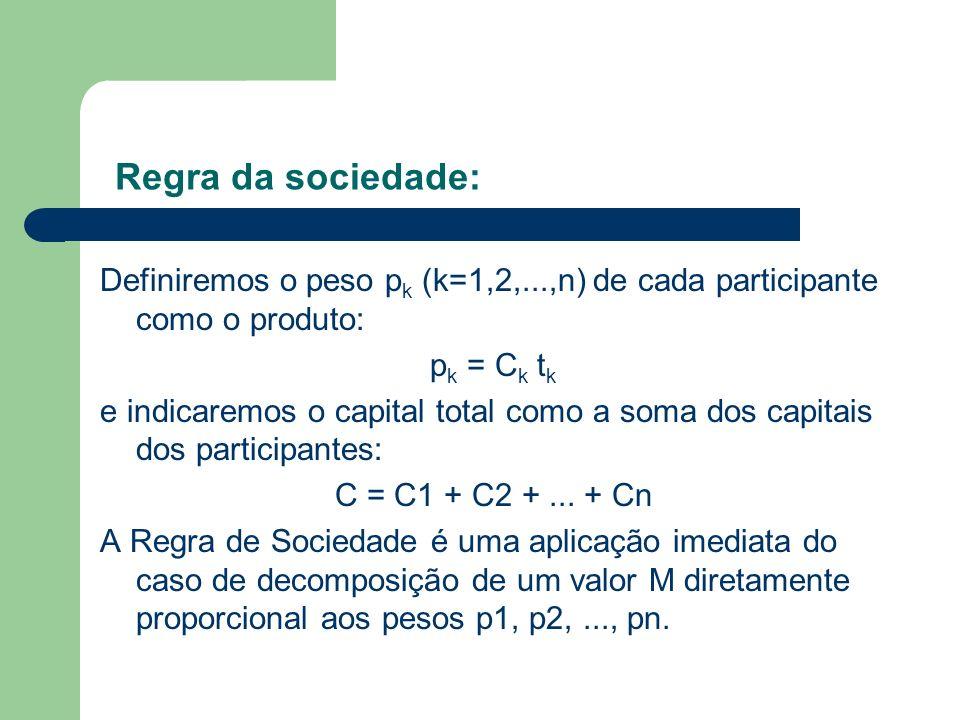 Definiremos o peso p k (k=1,2,...,n) de cada participante como o produto: p k = C k t k e indicaremos o capital total como a soma dos capitais dos par