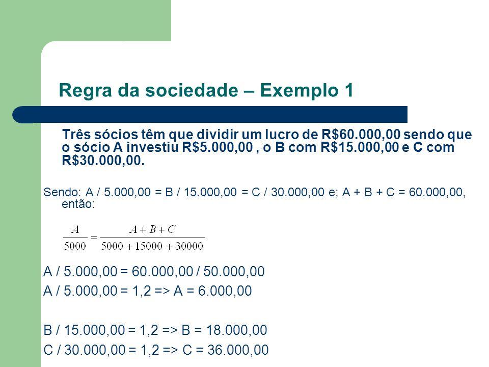 Três sócios têm que dividir um lucro de R$60.000,00 sendo que o sócio A investiu R$5.000,00, o B com R$15.000,00 e C com R$30.000,00. Sendo: A / 5.000