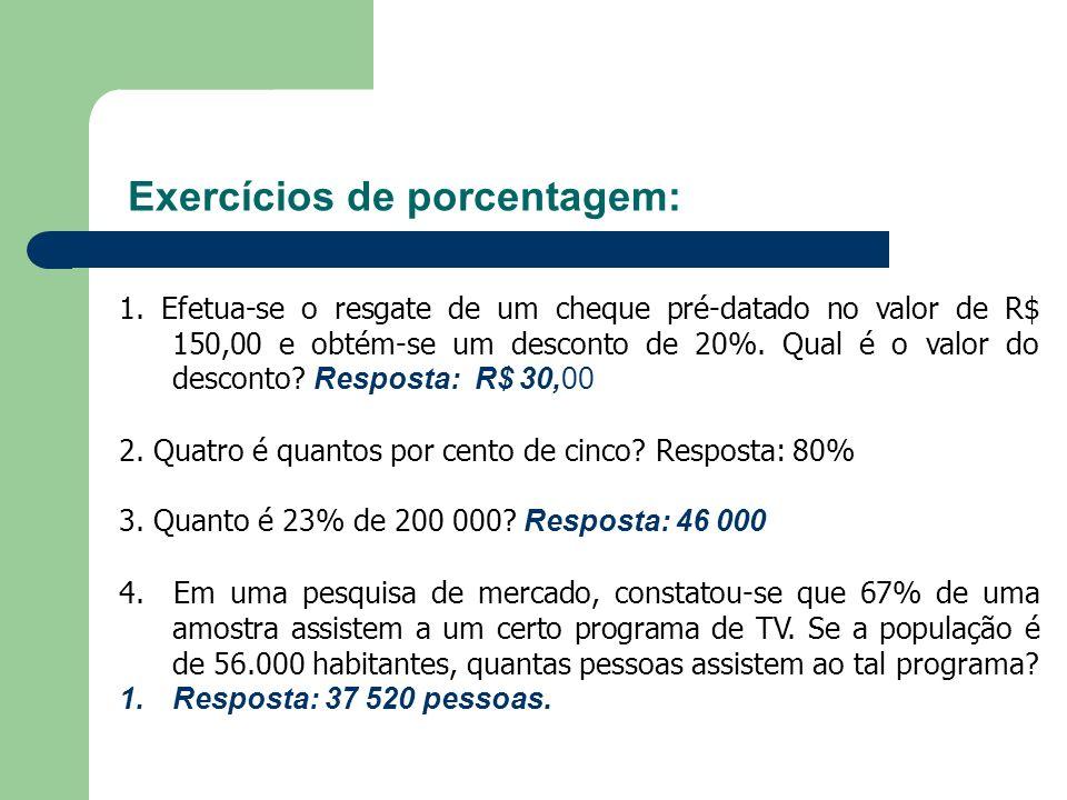 Exercícios de porcentagem: 1. Efetua-se o resgate de um cheque pré-datado no valor de R$ 150,00 e obtém-se um desconto de 20%. Qual é o valor do desco