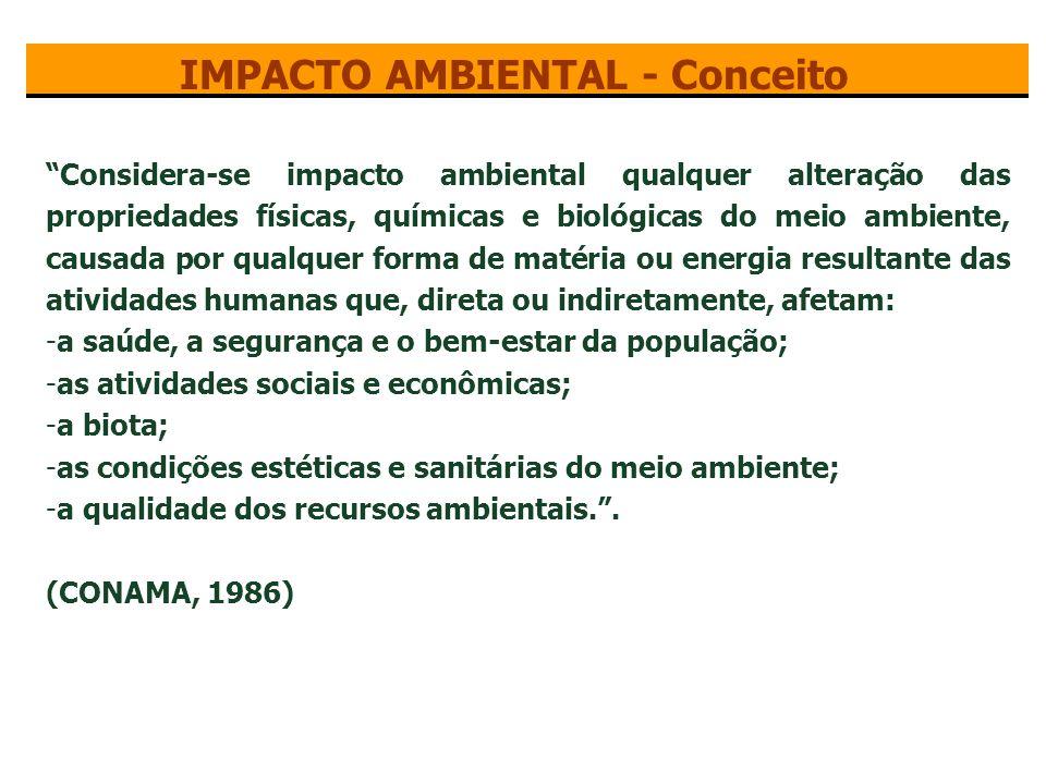Impacto ambiental é toda ação ou atividade, natural ou antrópica, que produz alterações bruscas em todo o meio ambiental ou apenas em alguns de seus componentes.