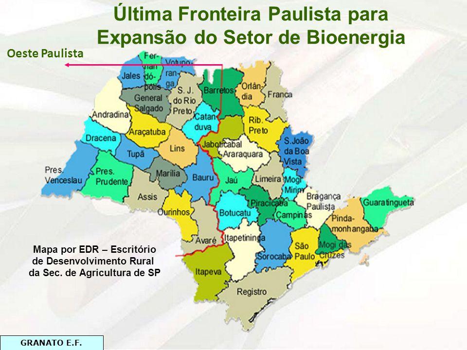 Oeste Paulista Mapa por EDR – Escritório de Desenvolvimento Rural da Sec. de Agricultura de SP GRANATO E.F.