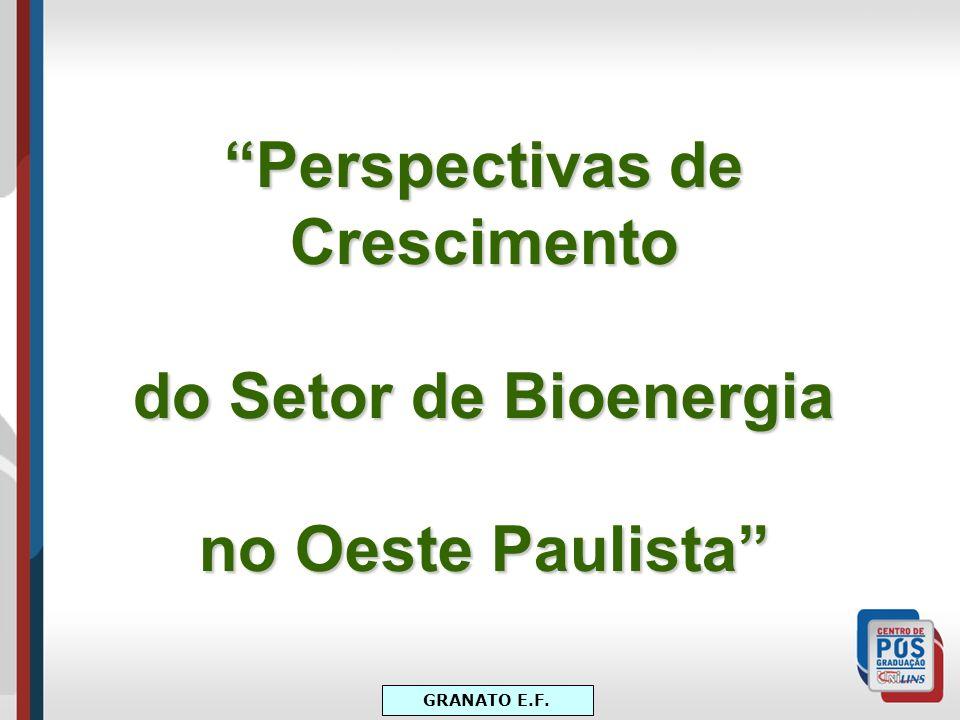 Perspectivas de Crescimento do Setor de Bioenergia no Oeste Paulista GRANATO E.F.