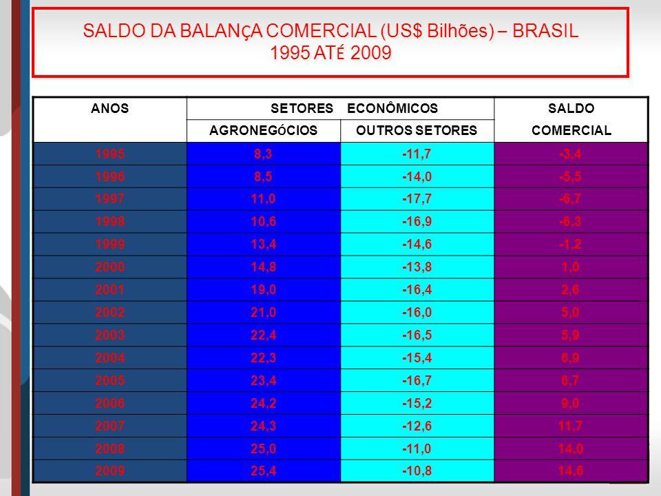 SALDO DA BALAN Ç A COMERCIAL (US$ Bilhões) – BRASIL 1995 AT É 2009 ANOSSETORESECONÔMICOSSALDO AGRONEG Ó CIOS OUTROS SETORESCOMERCIAL 19958,3-11,7-3,4