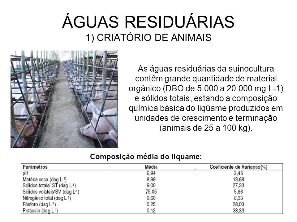 ÁGUAS RESIDUÁRIAS 1) CRIATÓRIO DE ANIMAIS As águas residuárias da suinocultura contêm grande quantidade de material orgânico (DBO de 5.000 a 20.000 mg