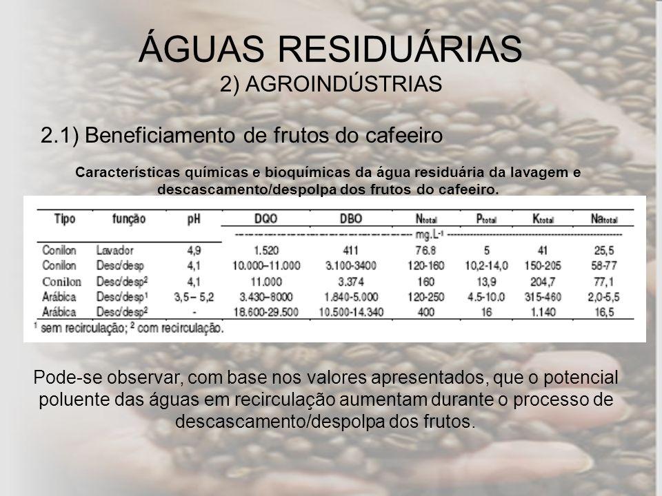 2.1) Beneficiamento de frutos do cafeeiro Características químicas e bioquímicas da água residuária da lavagem e descascamento/despolpa dos frutos do