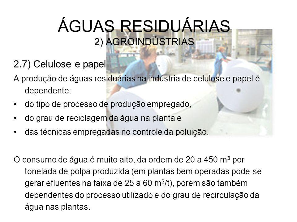 ÁGUAS RESIDUÁRIAS 2) AGROINDÚSTRIAS 2.7) Celulose e papel A produção de águas residuárias na indústria de celulose e papel é dependente: do tipo de pr