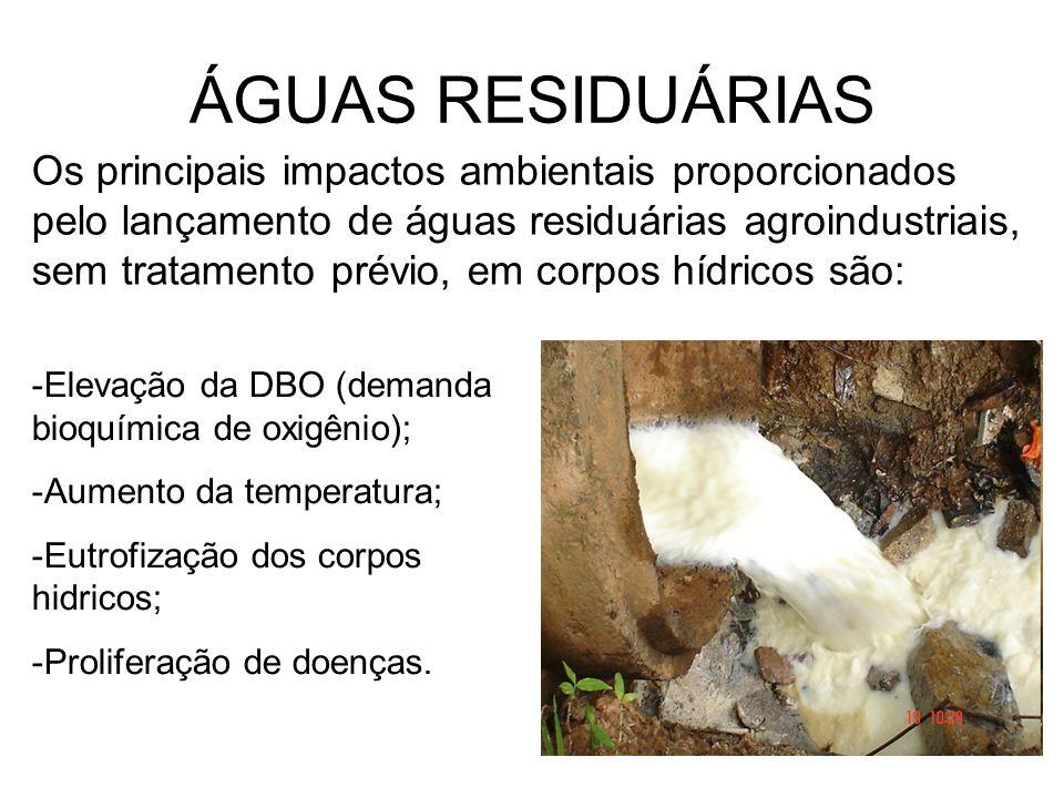 ÁGUAS RESIDUÁRIAS Os principais impactos ambientais proporcionados pelo lançamento de águas residuárias agroindustriais, sem tratamento prévio, em cor
