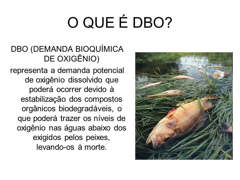 O QUE É DBO? DBO (DEMANDA BIOQUÍMICA DE OXIGÊNIO) representa a demanda potencial de oxigênio dissolvido que poderá ocorrer devido à estabilização dos