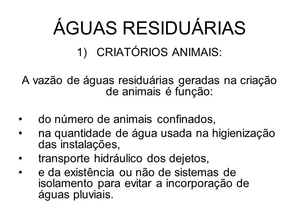 ÁGUAS RESIDUÁRIAS 1)CRIATÓRIOS ANIMAIS: A vazão de águas residuárias geradas na criação de animais é função: do número de animais confinados, na quant
