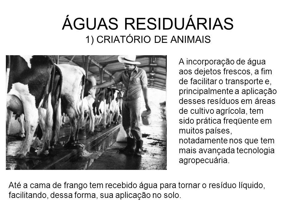 ÁGUAS RESIDUÁRIAS 1) CRIATÓRIO DE ANIMAIS Em suinoculturas, nas quais o dejeto é transportado por meio hidráulico, gera-se, em média entre 8 e 25 litros de águas residuárias por animal por dia.