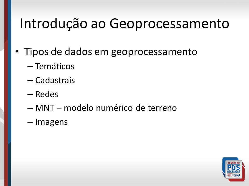 Introdução ao Geoprocessamento Tipos de dados em geoprocessamento – Temáticos – Cadastrais – Redes – MNT – modelo numérico de terreno – Imagens
